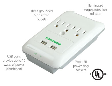 Important features of the PowersAll Multi Outlet Wall Adapter