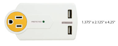 The Power Strip Liberator PowersAll Mini has 3 AC and 2 USB outlets