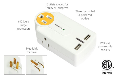 Important features of the PowersAll Mini Multi Outlet Travel Adapter